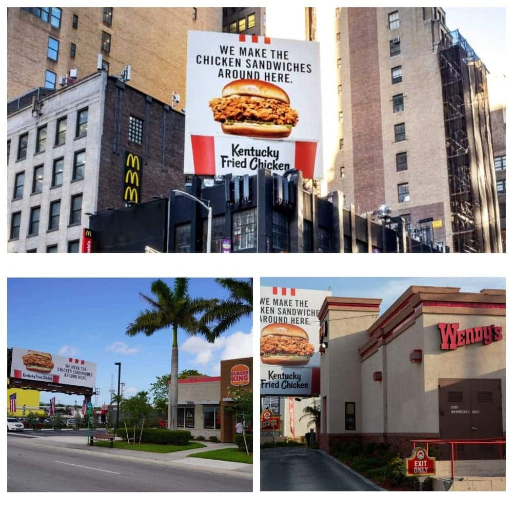 Билбоды от KFS с рекламой нового бургера