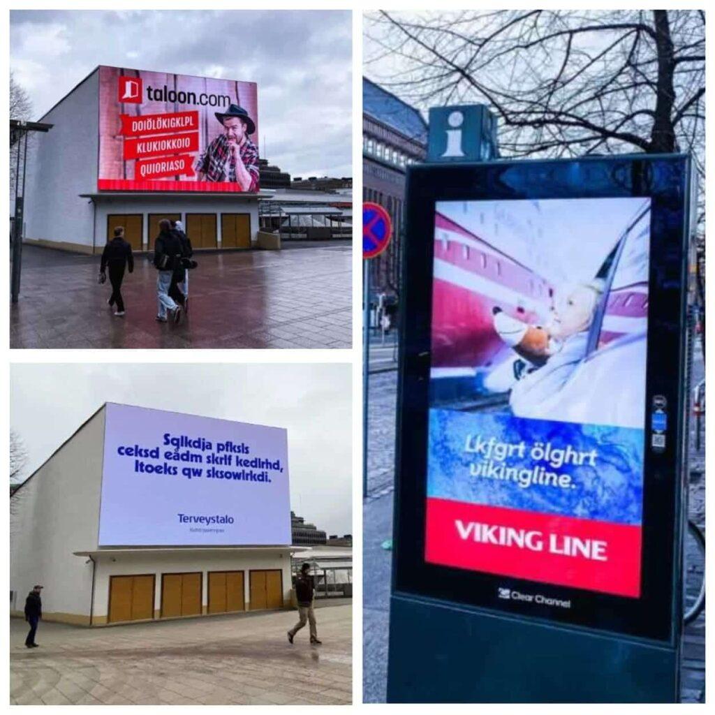 Реклама в Финляндии на вымышленном языке